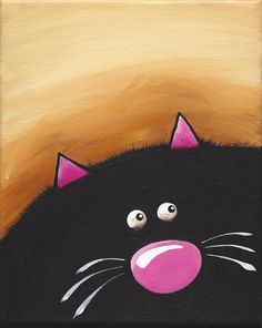 Original acrylic canvas painting whimsical black fat cat art (1) 8 x 10 inches #Modernism