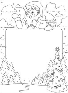 Drawing For Kids, Art For Kids, Crafts For Kids, Christmas Coloring Pages, Coloring Book Pages, Coloring For Kids, Free Coloring, Christmas Colors, Christmas Art