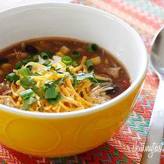 Super tasty (and healthy) Chicken Enchilada soup!     http://www.skinnytaste.com/2011/12/crock-pot-chicken-enchilada-soup.html