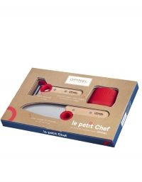 Opinel Le Petit Chef Complete Box Set Piece Set) Educational Cooking Equipment for Kids with Stainless Steel Chef Knife, Vegetable Peeler, and Child Safety Finger Guard