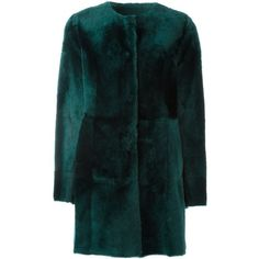 Drome panelled coat (10.950 HRK) ❤ liked on Polyvore featuring outerwear, coats, green, drome coat, drome and green coat