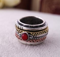 Retro Multilayer Inlaid Red Gem Alloy Rings for Girls