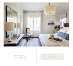 Marie Flanigan Interiors - Small Space Solutions - Benjamin Moore Cloud White - Holly Hunt Headboard - Plush Home Bedding - Circa Lighting Lamps - Antique Mirror Coastal Bedrooms, Guest Bedrooms, Guest Room, Master Bedrooms, Airy Bedroom, Bedroom Decor, Bedroom Ideas, Bedroom Neutral, Blue Bedroom