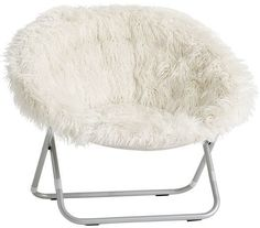 Pottery Barn Teen Ivory Fur-Rific Hang-A-Round Chair with Silver Base - Products - Cool Decorative Pillows Cute Desk Chair, Diy Chair, Chair Upcycle, Chair Pillow, Chair Cushions, Swivel Chair, Upholstered Chairs, White Fluffy Chair, Eames