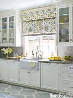 Don't like the pattern, but I like the style of window covering (minus the box at the top) for the window above my sink.