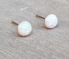 Opal earrings Gold stud earrings October by HLcollection on Etsy
