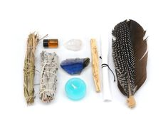 Feeling distracted or aloof? Need a guidancefrom the other side?Then thishandmade focus & awarenesskit is justwhat you need. This kit comes with a sage smudge stick for cleansing, palo santo wood for sealing in good energies, adried sweetgrass braid for welcoming good spirits to aid in your process, sweet orangeessential oil for gaining your attention, a turquoise blue candle foranointingwith oil and enhancing your intentions, leather wrapped turkey or hen feathers (depending o...