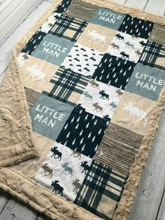 Little Man Minky Blanket Faux Quilt Designer Minky Beige Easy Baby Blanket, Minky Baby Blanket, Diy Bebe, Baby Boy Quilts, Boy Blankets, Baby Sewing Projects, Rag Quilt, Baby Boy Nurseries, Designer