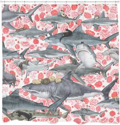 Shop for Sharp Shirter Hunters/ Cat and Shark Shower Curtain. Get free delivery On EVERYTHING* Overstock - Your Online Shower Curtains & Accessories Store! Shark Shower Curtain, Beach Shower Curtains, Shower Curtain Sets, Fabric Shower Curtains, Cafe Curtains, Bathroom Curtains, Pirate Bathroom Decor, Nautical Bathrooms, Chic Bathrooms