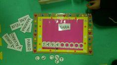 Juego con nombres y tapones de letras. ¡Otra forma de escribir!