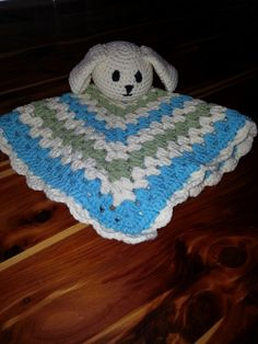 My first lovey! I used two different free patterns.  The blanket is from http://www.the stitchinmommy.com/2013/04/bunny-lovey-free-crochet-pattern.html and the head is from http://doityourselfbyruta.wordpress.com/2013/06/06/security-blanket-bunny/