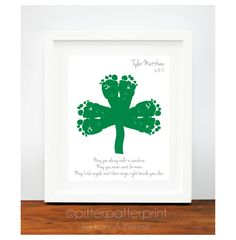 -just picture idea--link is to Etsy.com though- St Patricks Day Baby Footprint Shamrock - Irish Blessing for Baby - Personalized Ireland Art Print - Green St Patricks Day Decoration