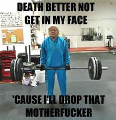 LULZ. I hope to be that fierce when I'm old but hope not to be wearing that outfit and dropping the F bomb.
