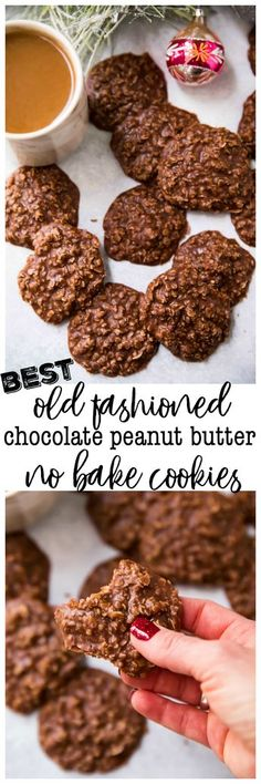 The BEST old fashioned chocolate peanut butter no bake cookies. The BEST old fashioned chocolate peanut butter no bake cookies that your family and friends wont be able to stop eating. Consider this a warning folks you cant have just one! No Bake Cookies, Yummy Cookies, Yummy Treats, Cookies Et Biscuits, Sweet Treats, Shortbread Cookies, Baking Cookies, Mud Cookies, Peanut Butter No Bake