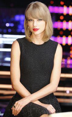 Taylor #Swift- bob, #red lipstick and classy dress #workchic