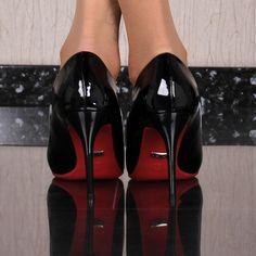 5648df5cfdab SEXY LACKLEDER-IMITAT HIGH HEELS PUMPS MIT ROTER SOHLE SCHWARZ  sexy   highheels  pumps  black  schwarz  stiletto  shoes