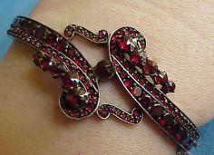 Stunning Unusual Antique Victorian Paisley Bohemian Red Garnet Bangle Bracelet | eBay