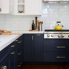 Best Two Tone Kitchen Cabinets Concept to Your Inspire Design, Home Decor, Break Out the Paint: Blue Kitchens Are Très Chic Right Now via Two Tone Kitchen Cabinets, Farmhouse Kitchen Cabinets, Kitchen Cabinetry, Kitchen Redo, New Kitchen, Kitchen Dining, White Cabinets, Awesome Kitchen, Two Toned Kitchen