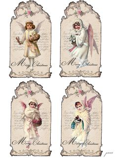 Vintage Christmas angels shabby chic tags Digital collage p1022 Free for personal use..