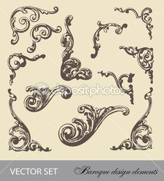 Baroque design elements Stock Vector
