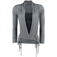 "Black Premium by EMP Langarmshirt, Frauen ""Ribbon Longsleeve"" grau/schwarz • EMP"