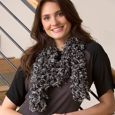 Red Heart Boutique Sassy Fabric Skullrific Scarf #knit #pattern