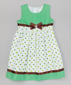 Look at this Lime Polka Dot Rhinestone Bow Dress - Toddler & Girls by Littoe Potatoes Little Girl Outfits, Little Girl Fashion, Kids Outfits, Kids Fashion, Baby Girl Frocks, Frocks For Girls, Toddler Girl Dresses, Girls Dresses, Toddler Girls