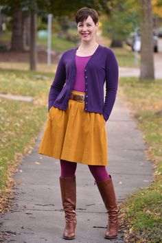 Already Pretty outfit featuring purple cardigan, magenta tank, mustard skirt, magenta tights, cognac belt, cognac bootsm Hillary Druxman ear...
