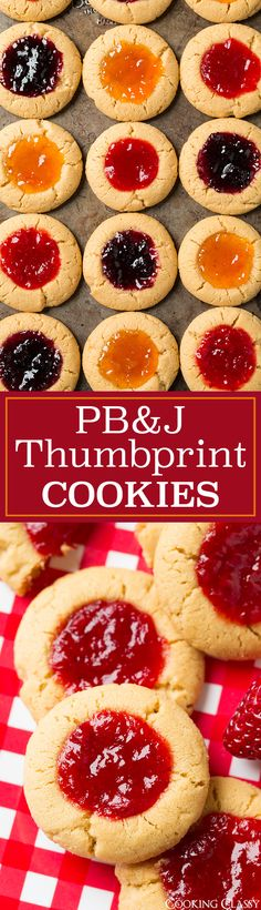 PB&J Thumbprint Cookies - both kids and adults alike will love these! Perfect after school/work treat. I love the PB&J combo!