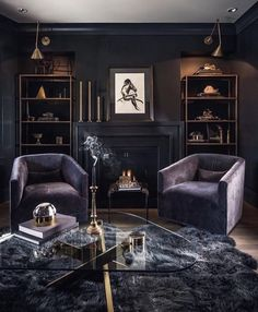 25 Modern Living Room Designs With Black Walls - Home Decor & Design Gothic Living Rooms, Dark Living Rooms, Small Living, Masculine Living Rooms, Masculine Room, Black Rooms, Black Walls, Home Office Design, House Design