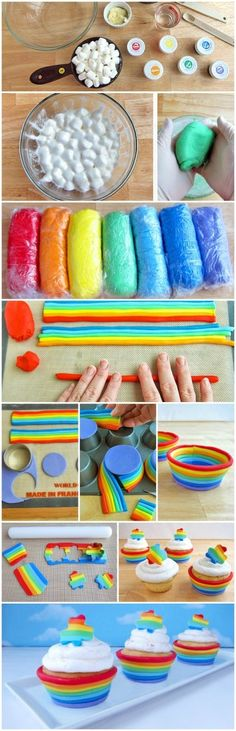 HOW TO MAKE MARSHMALLOW FONDANT. There is no need to serve up sickly icing on your cupcakes, cookies and cakes. Now you can use delicious Marshmallow Fondant and it couldn't be easier to make. Fondant Cupcakes, Marshmallow Fondant, Cupcake Cakes, Rainbow Cupcakes, Fondant Baby, Jello Fondant, Fondant Rainbow, Rainbow Jello, Rainbow Frosting