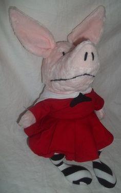 "Olivia Pig Red Dress 14"" Stuffed Animal Plush TV Show Toy 2003 Black White | eBay"