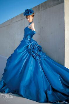 Blue western wedding gown by Scena D'Uno