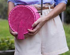 Leather Bag, Round Bag, Boho Bag, Crochet Handbags, Knitted Bag, Womens Leather Bag, Handbag, Leather Tassel Bag, Handmade Bag, Pink Bag
