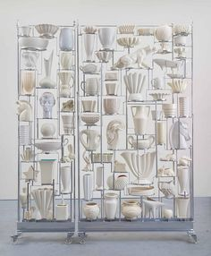 "Maloney Fine Art | OTTERSON, White Wall of China 2014 American ceramic collection, steel and plastic casters 95"" X 60"" X 12"""
