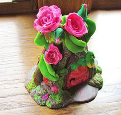 Rosie Fairy House by DawnsClayFantasy on Etsy, $45.00