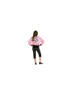 Your girl will be part of the coolest high school gang around with this Children's Pink Satin Ladies Jacket Costume for girls