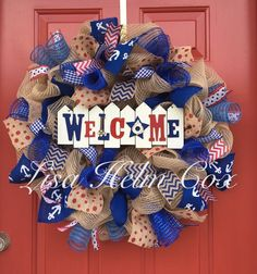 Welcome red white & blue burlap jute wreath