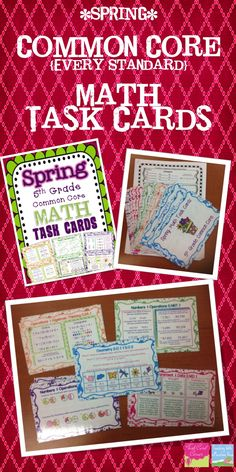 5th Grade Common Core Math Task Cards with a fun SPRING theme.  Every single common core standard is reviewed. Perfect Test Prep, Centers, Spiral Review, etc. $