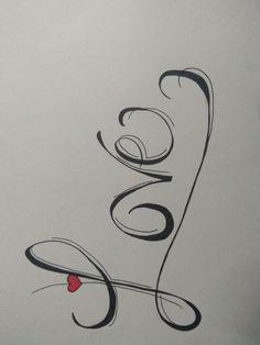 Heart Tattoo Designs, Tattoo Designs For Women, Calligraphy, Tattoos, Tattoo Ideas, Language, Lettering, Tatuajes, Tattoo