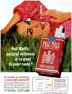 """Pall Mall's natural mildness is so good to your taste!"" These ads for Pall Mall cigarettes date from mid 1962 to late They all featured relaxed smokers…"