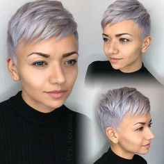 """4,636 Likes, 33 Comments - Short Hairstyles   Pixie Cut (@nothingbutpixies) on Instagram: """"Audrey Hepburn with silver/lavender hair We love it @pink_nouveau """""""