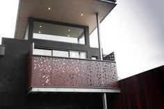 Here's a cool balcony idea - using a 'Pebbles' design as a decorative screen so the person inside gets privacy but allows you to see out. See more privacy screens @ www.entanglements.com.au