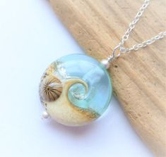 Beach Necklace Ocean Wave Jewelry Clear Glossy Wave by JBMDesigns