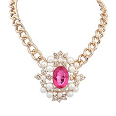 Millie Pearl Jewel Necklace £15.00  This exquisite necklace will compliment an evening outfit for a classy and sophisticated look. The necklace features several elegant pearls, which frame a gorgeous, large pink stone – it's sure to be a talking point for all the right reasons. The necklace would also breathe a little life into a more casual outfit.