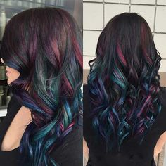 Oil slick hair color A trend that actually works on people with dark hair! Oil Slick Hair Color, Cool Hair Color, Peacock Hair Color, Galaxy Hair Color, Hair Color For Kids, Crazy Hair Color Ideas For Brunettes, Dark Hair With Color, Brown Hair With Red, Dark Maroon Hair