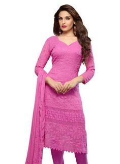 Pink Resham Work Net Lace Border Georgette Party Wear Churidar Suit #Anarkali #Churidar #Pakistani #Suit #Salwar #Bollywood http://www.angelnx.com/Salwar-Kameez