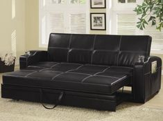 Coaster Fine Furniture 300132 Faux Leather Sofa Bed With White Stiching Black