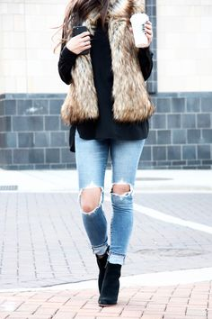 Faux Fur vest, black booties, Sam Edelman blake booties