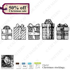 Gift boxes.50%OFF CHRISTMAS SALE!5 vintage drawings for cutting out, hand-drawn elements for scrapbooking, digital clipart, digital stickers by CatMadePattern on Etsy